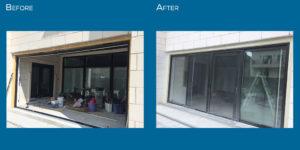 Four panel patio door hybrid installation